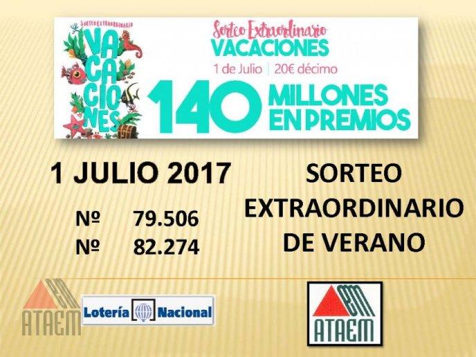 SORTEO EXTRAORDINARIO DE VACACIONES 1 DE JULIO 2017