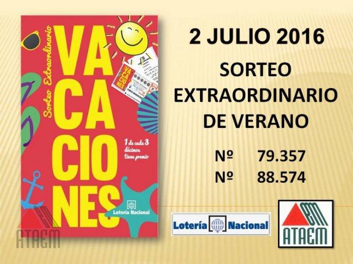 SORTEO EXTRAORDINARIO DE VACACIONES 2 DE JULIO 2016